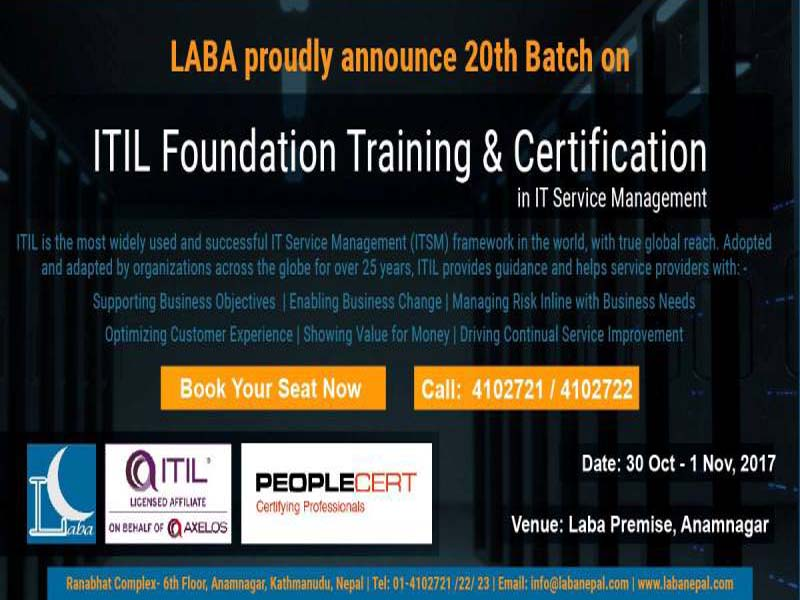 Laba Nepal Announced Itil Foundation Training Ict Frame Technology