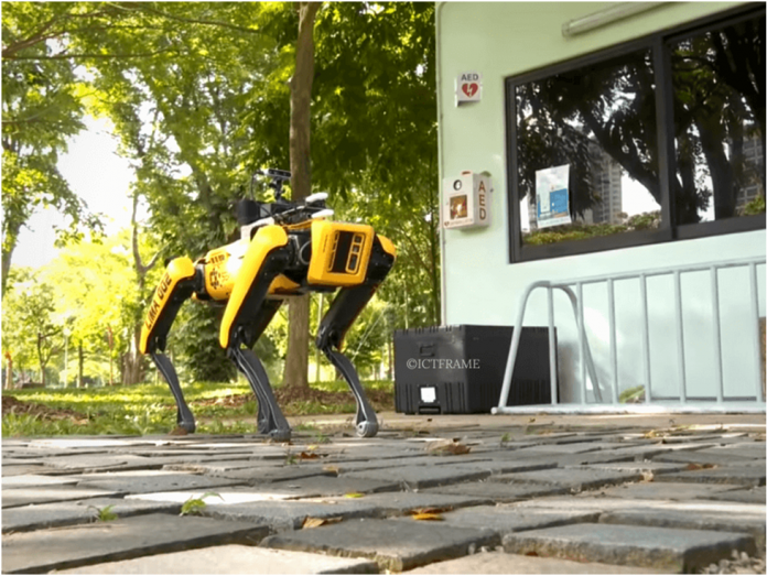 Robot Dog Patrols Singapore Parks to Encourage Social Distancing