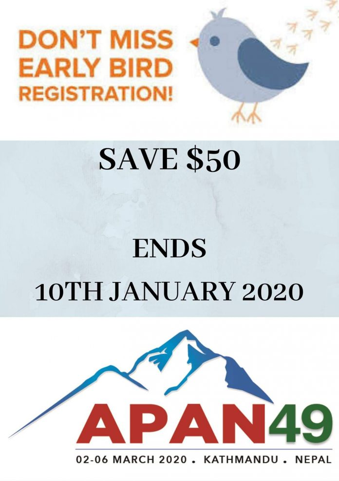 Early Bird Registration for APAN 49th Meeting