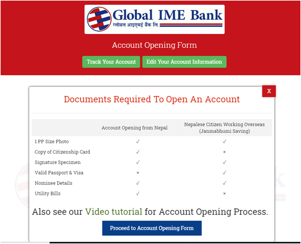 Ime Bank Online Account Opening