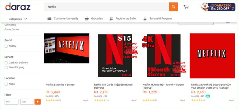 Illegal Netflix and Amazon Accounts Sale on Daraz.com