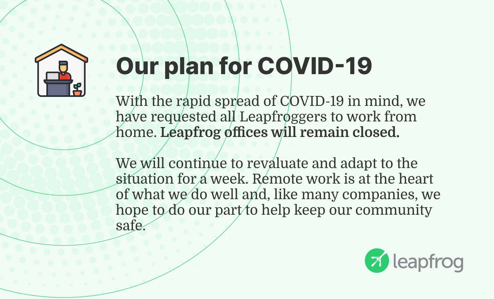 Important update about Leapfrog and COVID-19