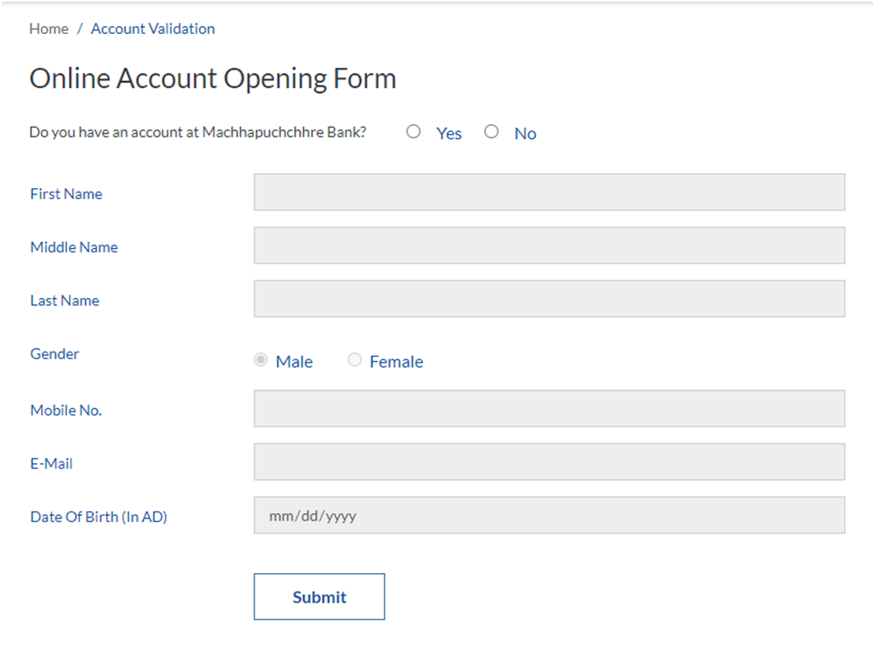 Online Account Opening Form