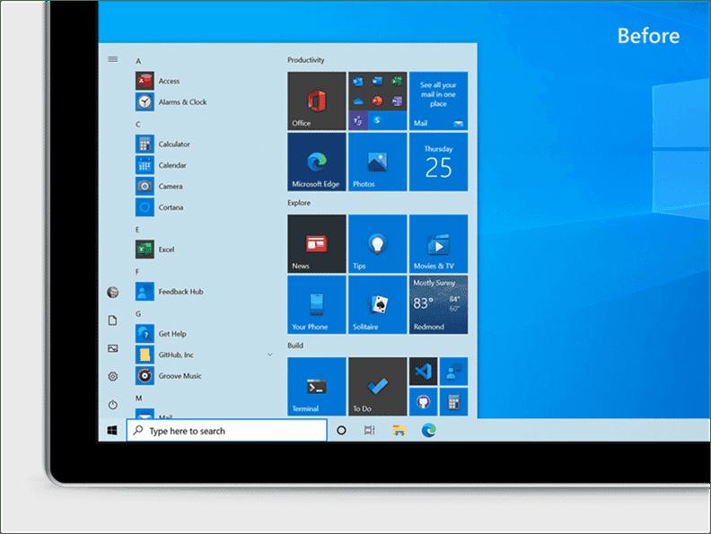 Microsoft Announces New Start Menu Design Before