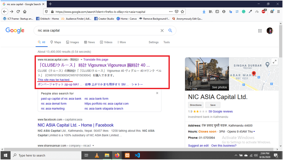 NIC ASIA CAPITAL WEBSITE HACKED