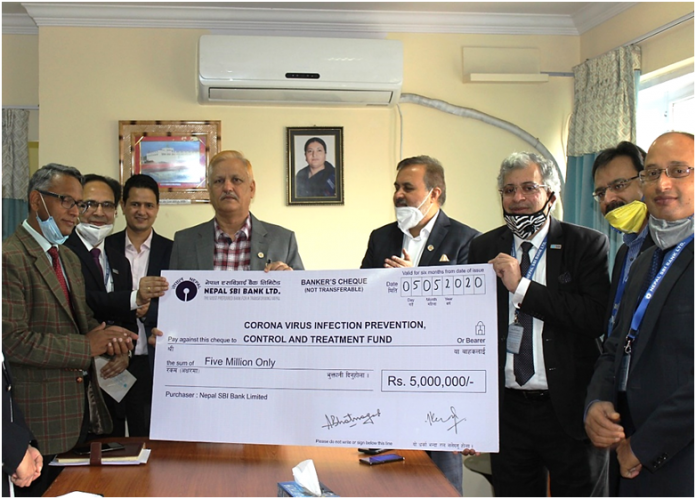 SBI Bank Of Nepal Provides Financial Support to Control COVID-19