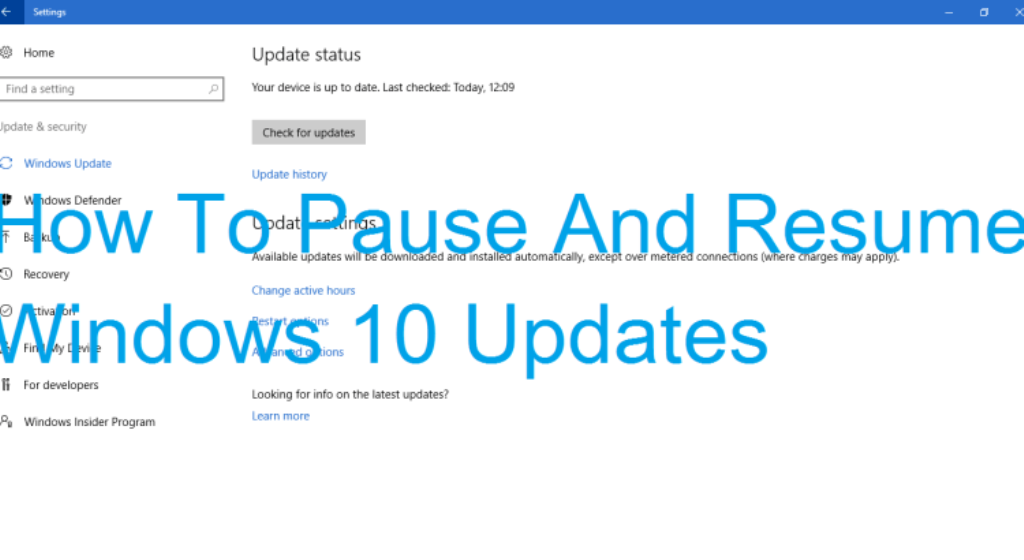 pause and resume a window update download in windows 10