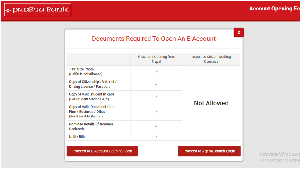Bank Account Opening Form