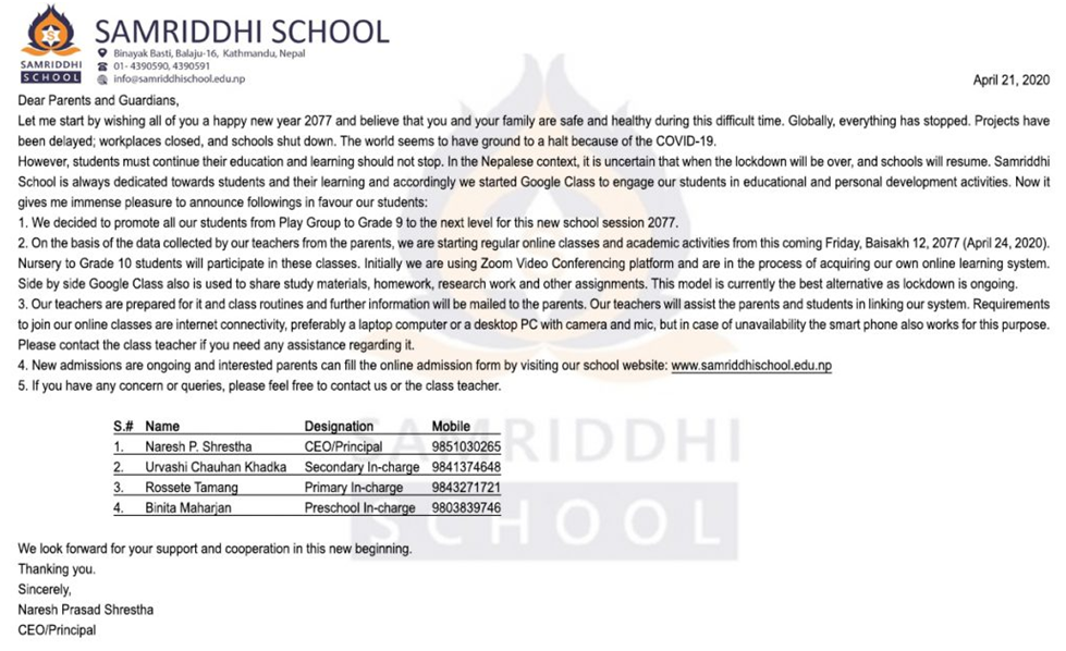 Samriddhi School Admission Notice