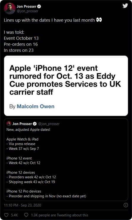 iPhone 12 announce date leaked by Jon Prosser