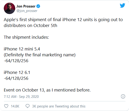 iPhone 12 announce date leaked