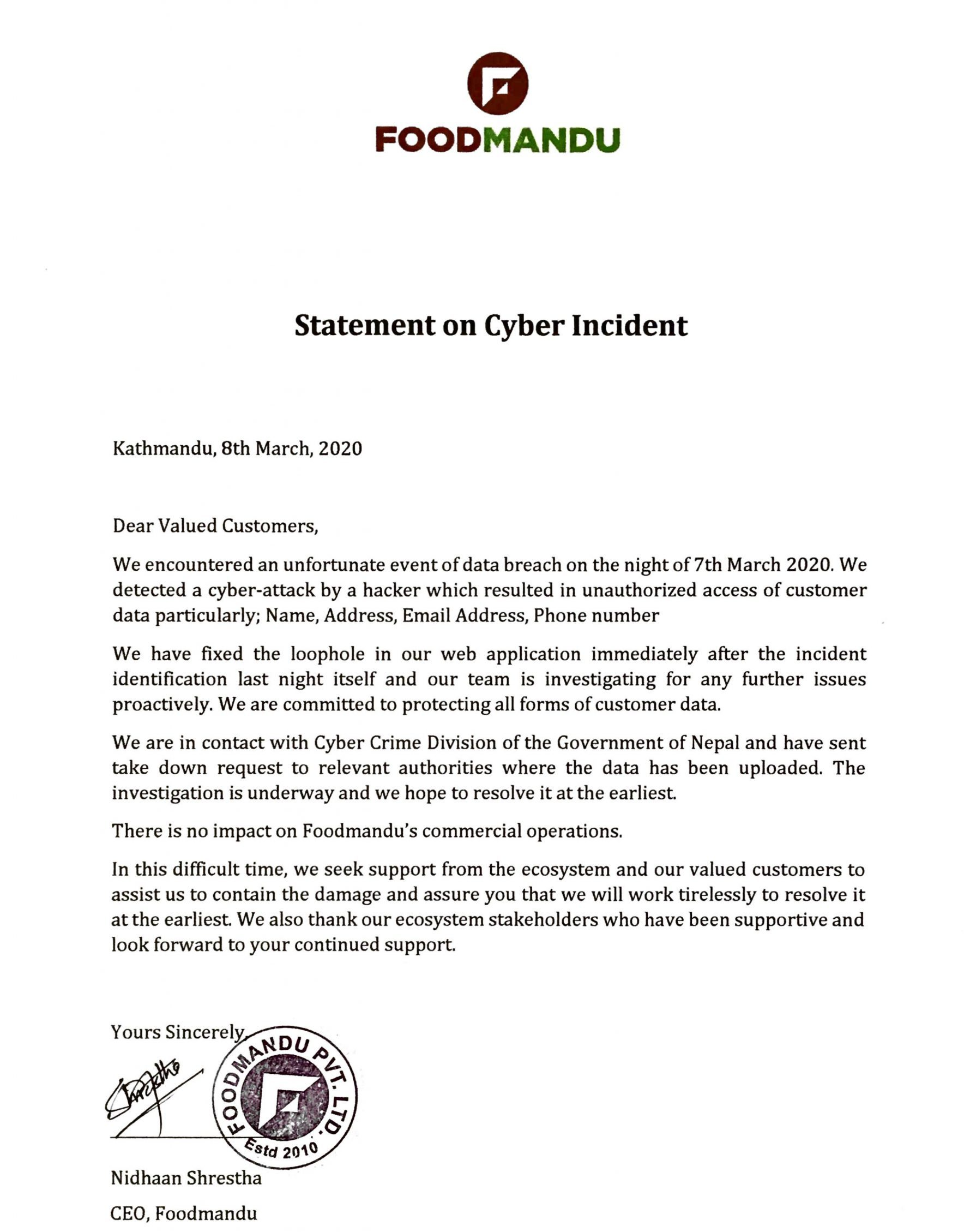 Statement On Information Incident In Nepal