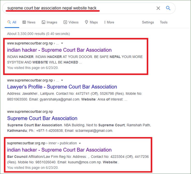 Bar Association Nepal Website Hacked