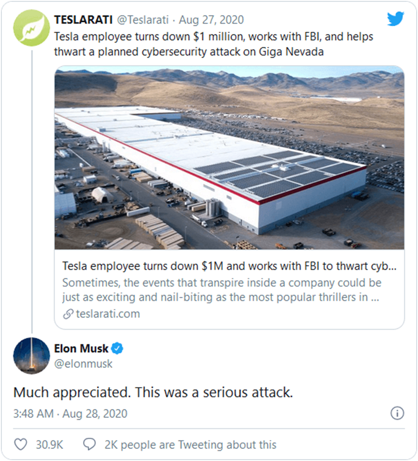 Tesla Employee Received Praises