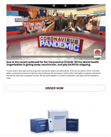 The fraudulent coronavirus vaccine kit website