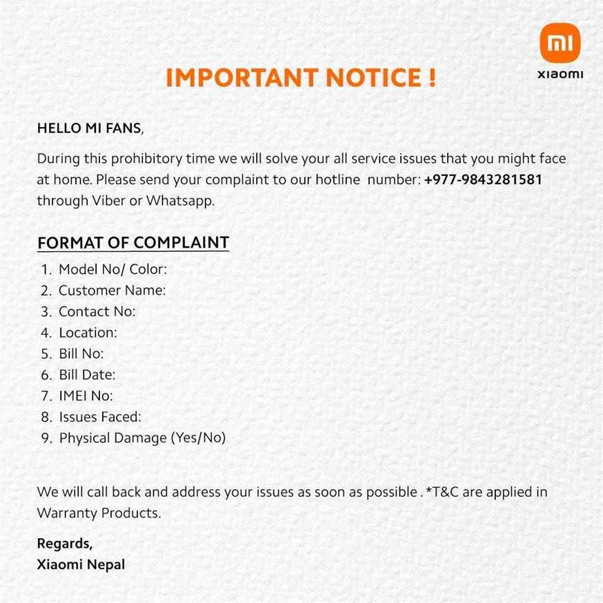 Xiaomi Nepal Notice