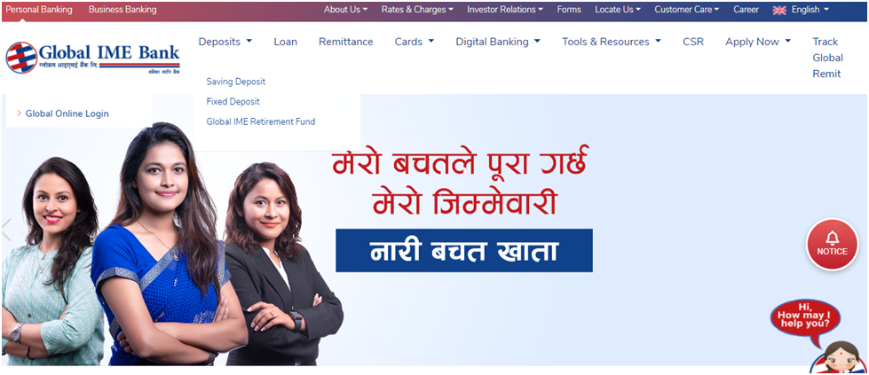 online account in global IME Bank
