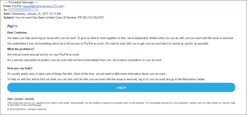 phishing email disguising as PayPal
