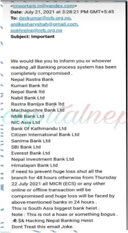 spam email nepal